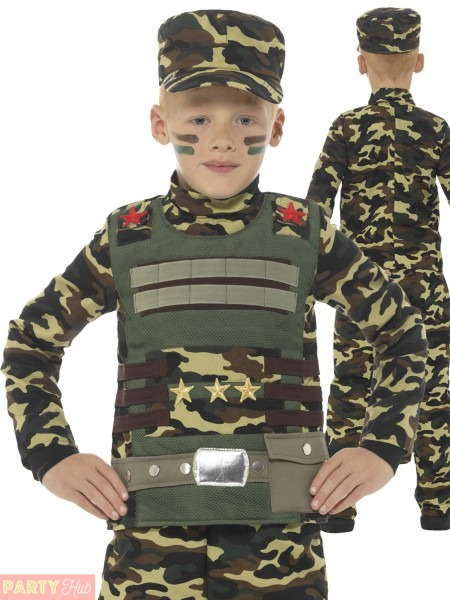 Boys Military Costume Childs Camouflage Army Fancy Dress Kids Book