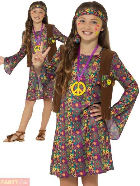 Girls 60s 70s Hippie Costume Childs Hippy Fancy Dress Kids Decades