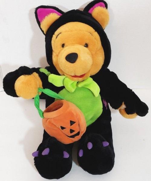 Disney Halloween Winnie The Pooh Bear Plush 14  Scaredy Cat Pooh