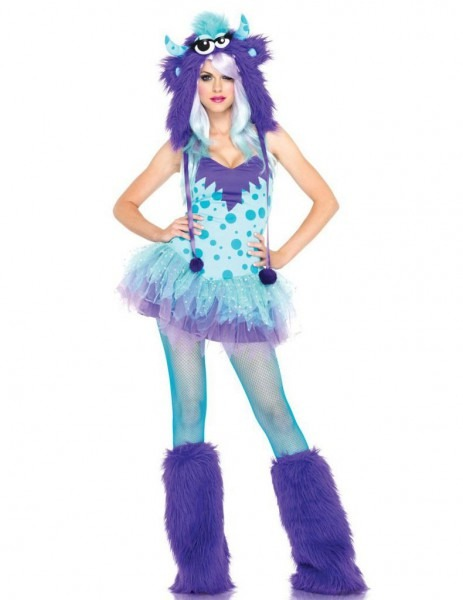 Fluffy Fuzzy Sexy Blue Monster Halloween Costume For Adult With