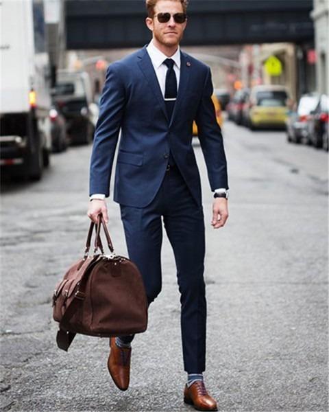 Folobe Dark Blue Slim Fit Blazer Masculino Men Suits Custom Made