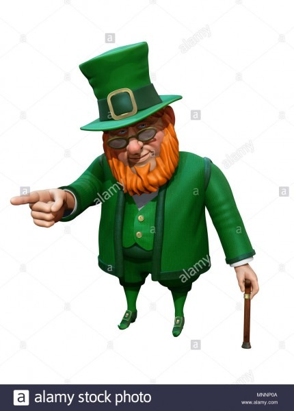 Funny Leprechaun In Green Suit And Hat Pointing With His Finger