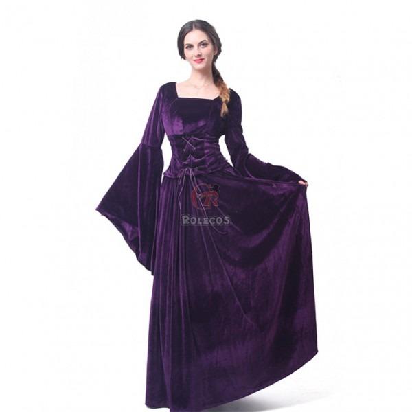 Women Velvet Medieval Renaissance Dress Celtic Queen Gown Larp