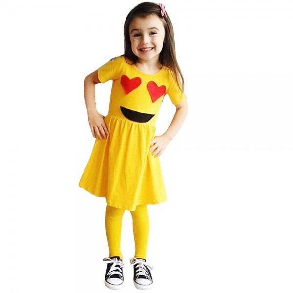 Girls Dress Toddler Infant Emoji Emoticon Smiley Sun Dresses