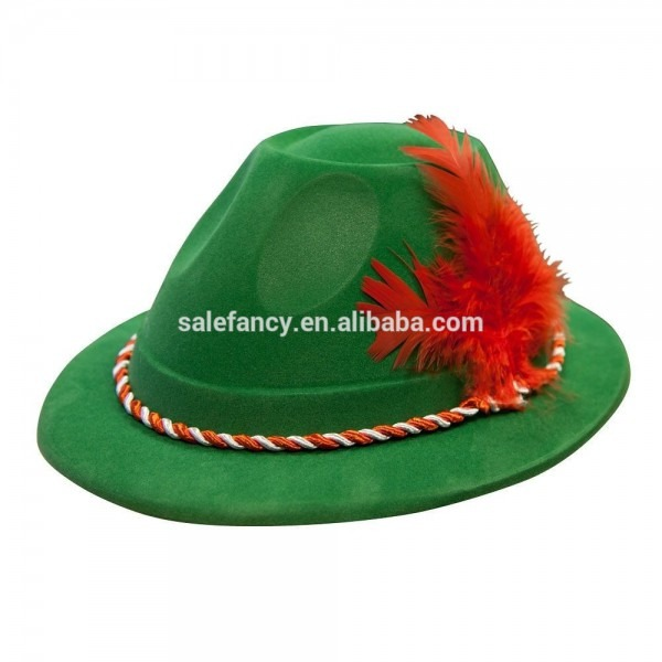 Green Hat With Red Feather Oktoberfest St Patrick's Day Felt