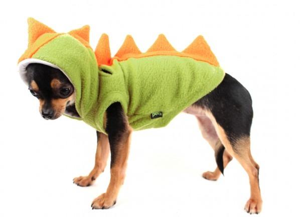 Dinosaur Dog Costume Fleece Dog Hoodie Green And Orange