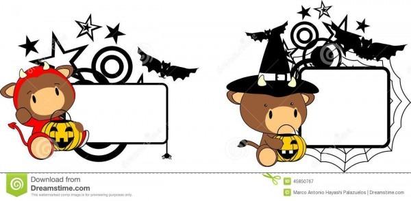 Halloween Costume Baby Bull Cartoon Set Stock Vector