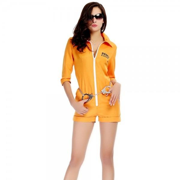 Halloween Purim Costumes Adult Women Yellow Prisoner Costume Game