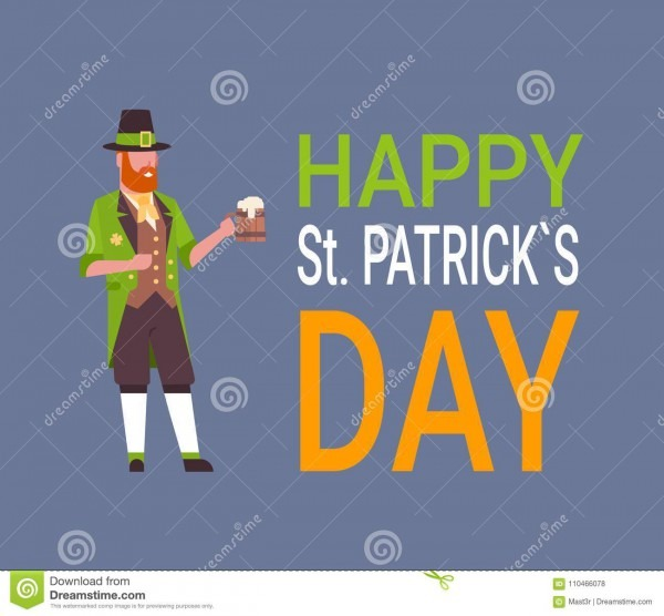Happy St  Patricks Day Card With Man In Green Leprechaun Suit
