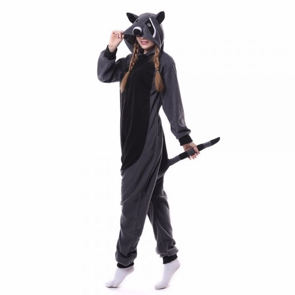 Hksng Fleece Grey Raccoon Animal Pajamas Kigurumi Gray Racoon