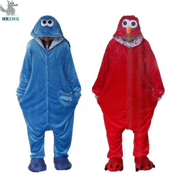Hksng New Animal Adult Elmo Sesame Cookie Kigurumi Pajamas