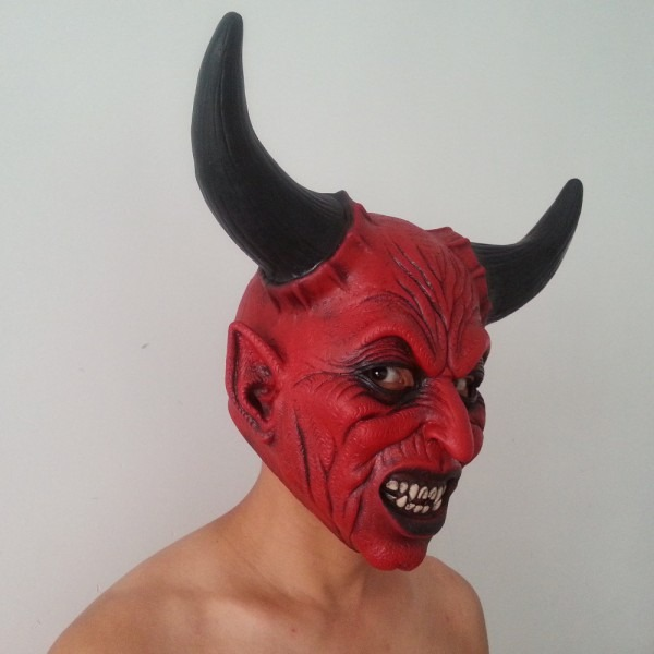 Hot Sale Scary Adult Costume Horn Zombie Mask Horror Party Cosplay