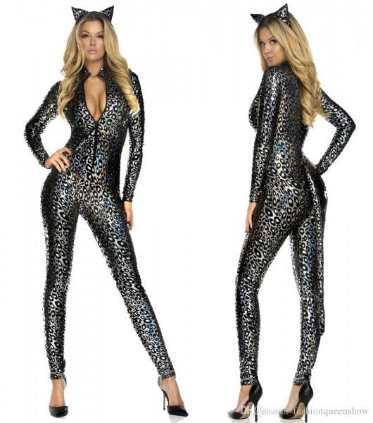Hot Sale Sexy Women Catsuit Costume Leopard Bodysuit Zipper Front