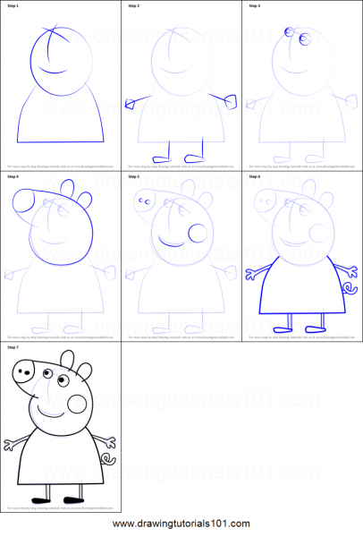 How To Draw Mummy Pig From Peppa Pig Printable Step By Step