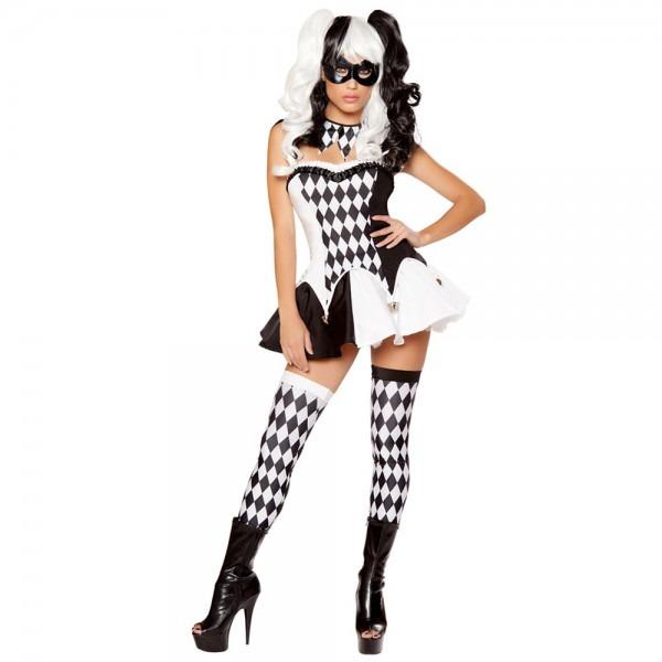 Women White Black Plaid Sexy Naughty Harley Quinn Costume
