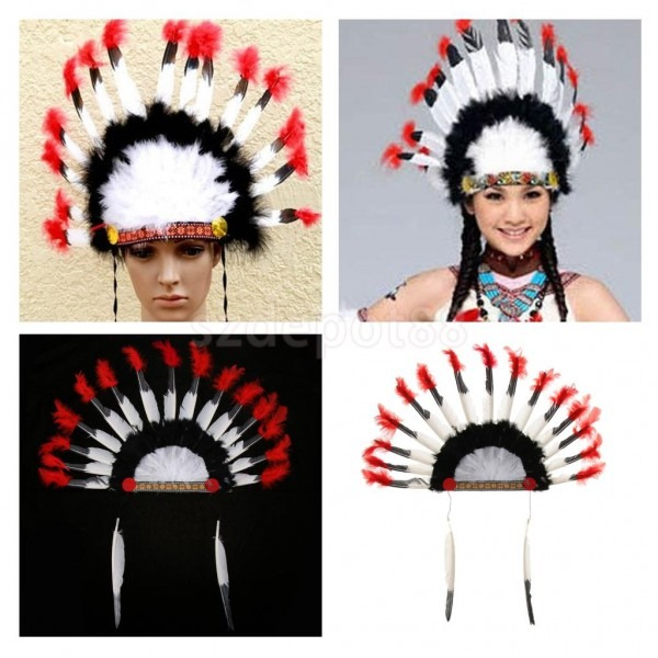 Native American Headdress Lightweight Indian Feather Headwear