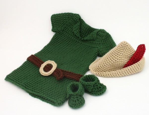 Crochet Peter Pan Costume, Baby Robin Hood