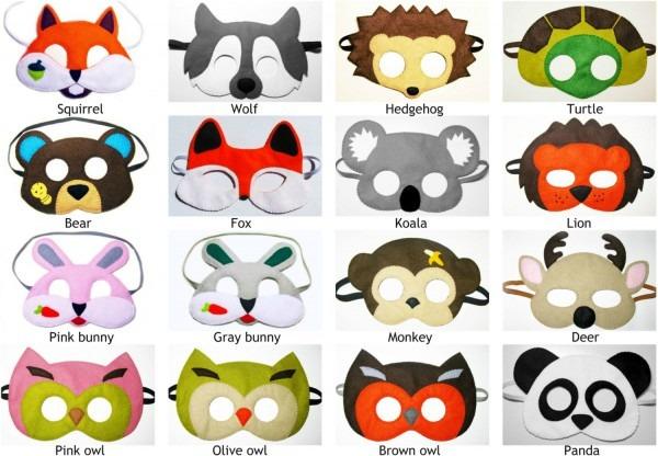5 Felt Animal Masks Zoo Forest Woodland Party Favors