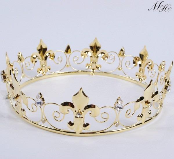 Imperial Medieval Golden Crown Round Tiara Clear Rhinestones