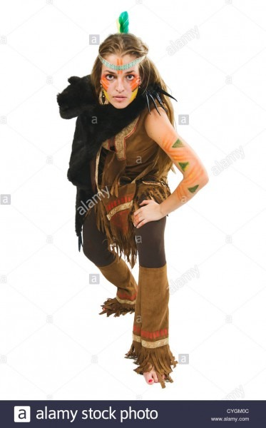 Indian Native Traditional Warrior Female Costume Stock Photo