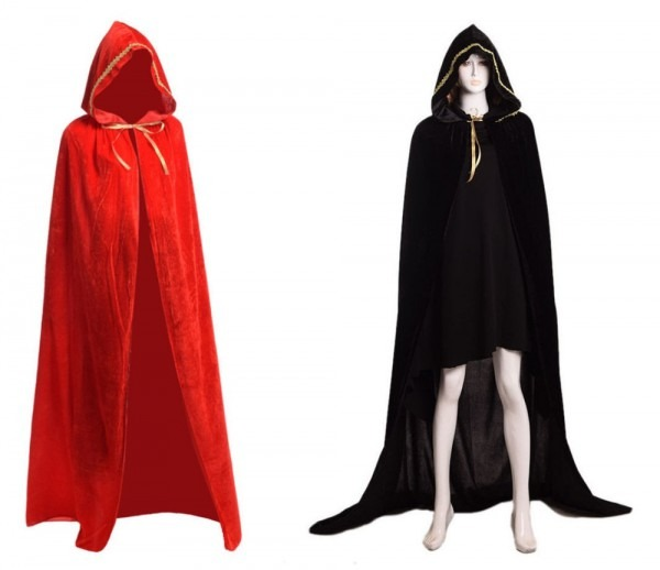 Kids Adults Vampires Witch Wizard Black Red Cloak Costume