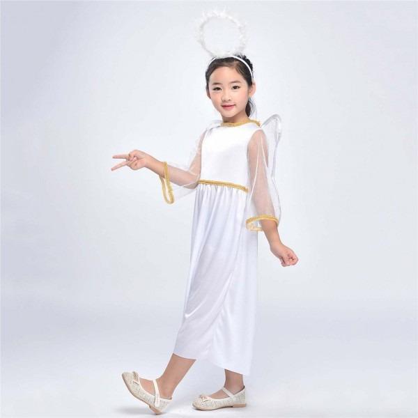 Kids Angel Costume Heaven Sent Girls Roleplay Nativity Cherub