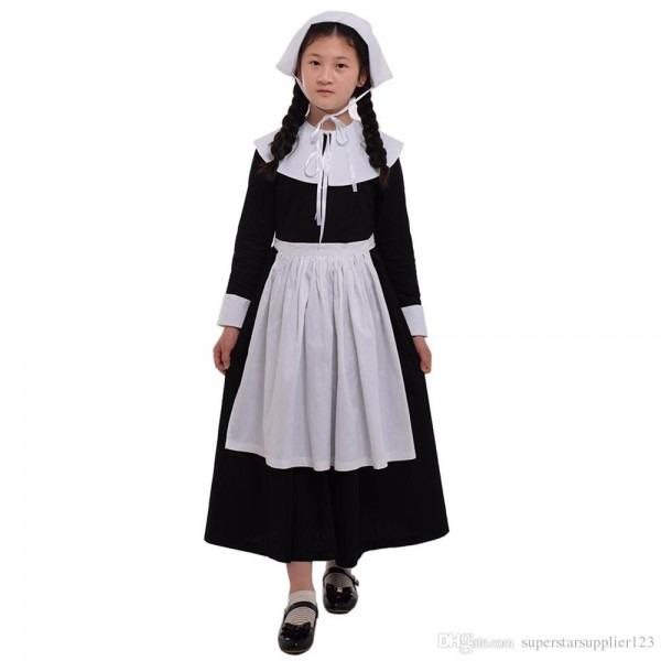 Kids Girls Puritan Costume Pilgrim Carnival Party 1920s Religious