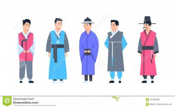 Korea Traditional Clothes Set Of Men Wearing Ancient Costume