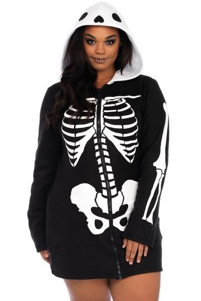 Hooded Skeleton Dress Costume Plus, Flattering Fleece Costume