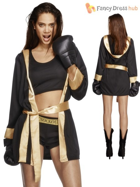 Ladies Fever Knockout Boxing Fancy Dress Costume Womens, Girl
