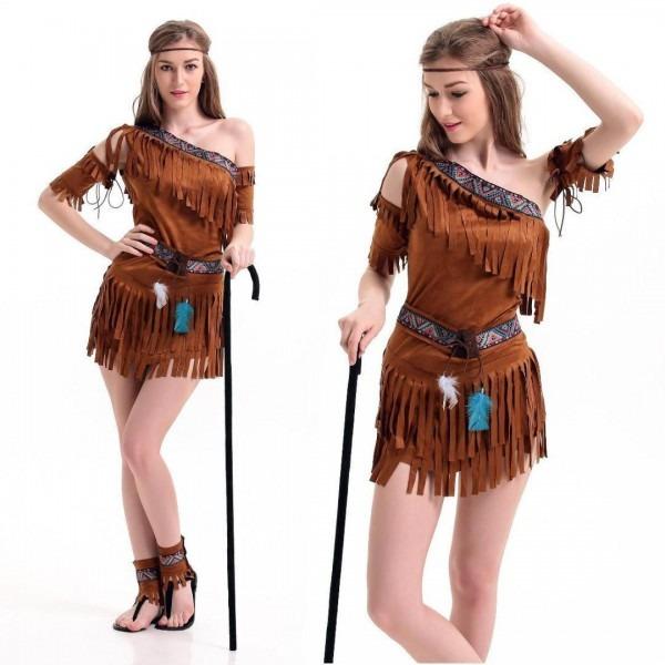 2019 Ladies Women Native American Indian Wild West Fancy Dress