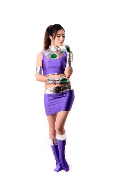 Lycra Spandex Shiny Metallic Sexy Dc Starfire Female Costume