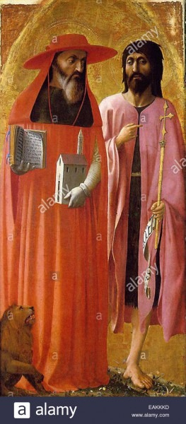 Masaccio St  Jerome And St  John The Baptist Stock Photo  75420561