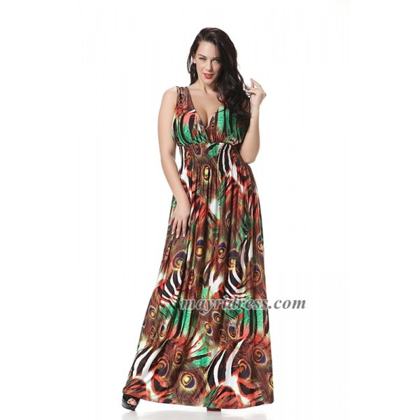 New Party Evening Peacock Wedding Hippie Plus Size Formal Maxi