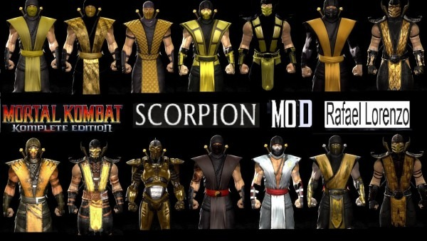 Mortal Kombat All Scorpion Mk Costume Skin Pc Mod Mk9 Komplete