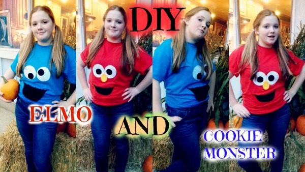 Easy And Fast Halloween Costumes  Diy Elmo & Cookie Monster
