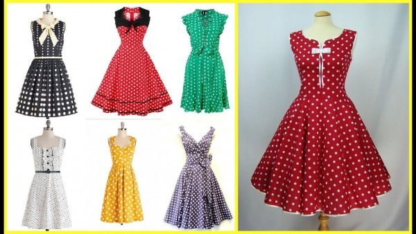Vintage Style Polka Dot Outfits=50s Style Polka Dot Dresses For