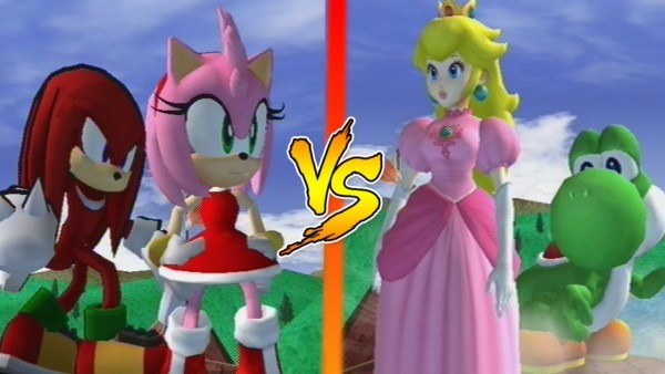 Amy Rose And Knuckles Vs Peach And Yoshi