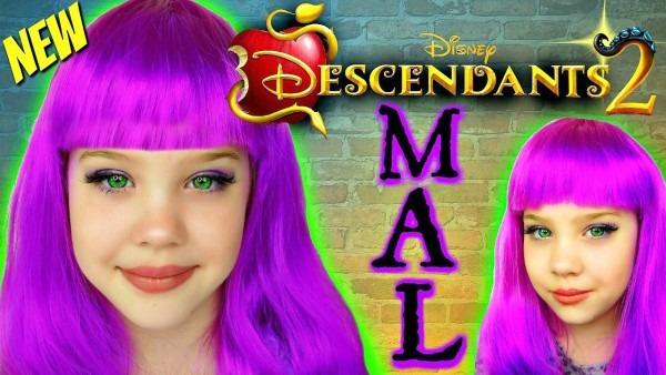 New Disney Descendants 2 Mal Makeup Tutorial, Kids Makeover