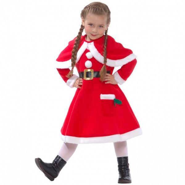 Little Miss Santa Claus Fancy Dress Costume For Girls Christmas