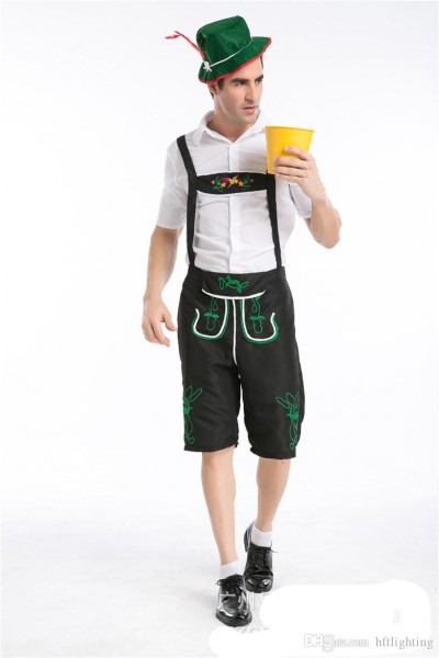 Men's Oktoberfest Lederhosen With Suspenders Costume For Man Role