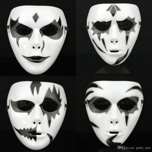 Men White Black Hip Hop Mask Halloween Party Full Face Mask Bar