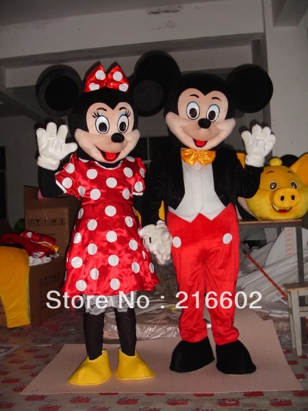 Mickey Mouse Mascot Costume, Minnie Mouse Mascot Costume, Minnie