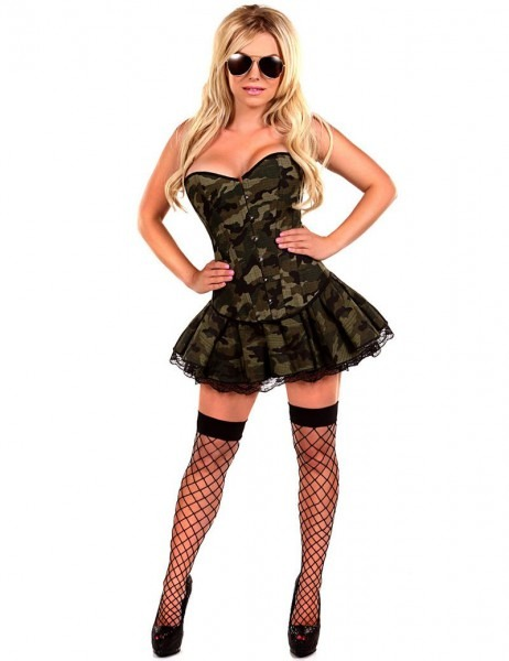 2019 Moonight Camouflage Corset Dress Army Military Uniform Fancy