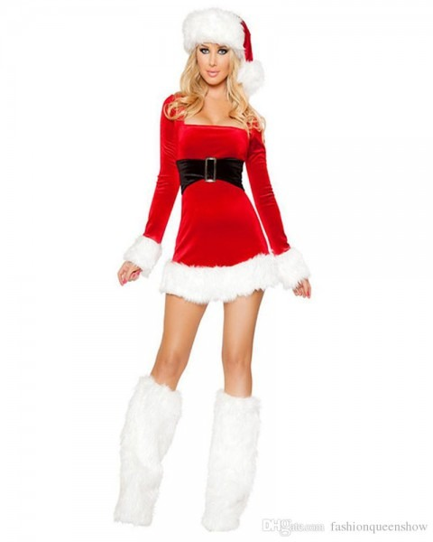 Mrs Miss Santa Claus Cosplay Costume Women Sexy Red Long Sleeve