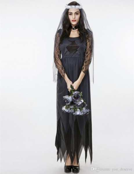 New Adult Ghost Bride Lace Tulle Long Dress Black Picot Edge Sexy