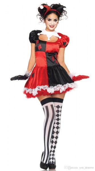 New Arrival Luxury Harley Quinn Costumes Funny Clown Cheap Ugly