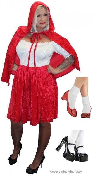 New! Plus Size Little Red Riding Hood Halloween Costume Lg Xl 1x