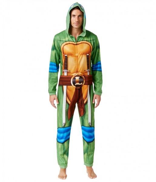 Briefly Stated Mens Leonardo Ninja Turtle Costume Body Suit Pajama