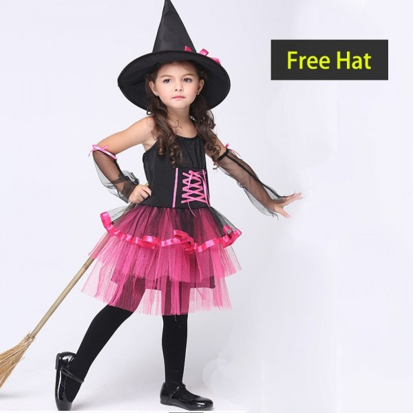 Novel Halloween Cute Witch Costume For Girls Kids Play Cosplay